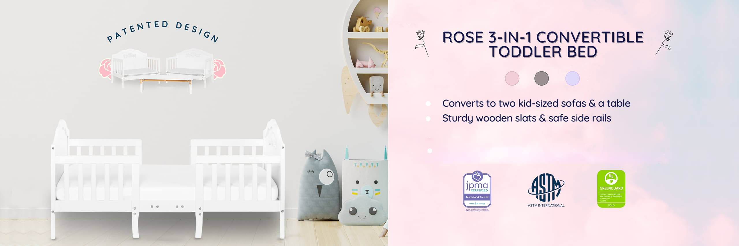 Rose 3-in-1 Convertible Toddler Bed