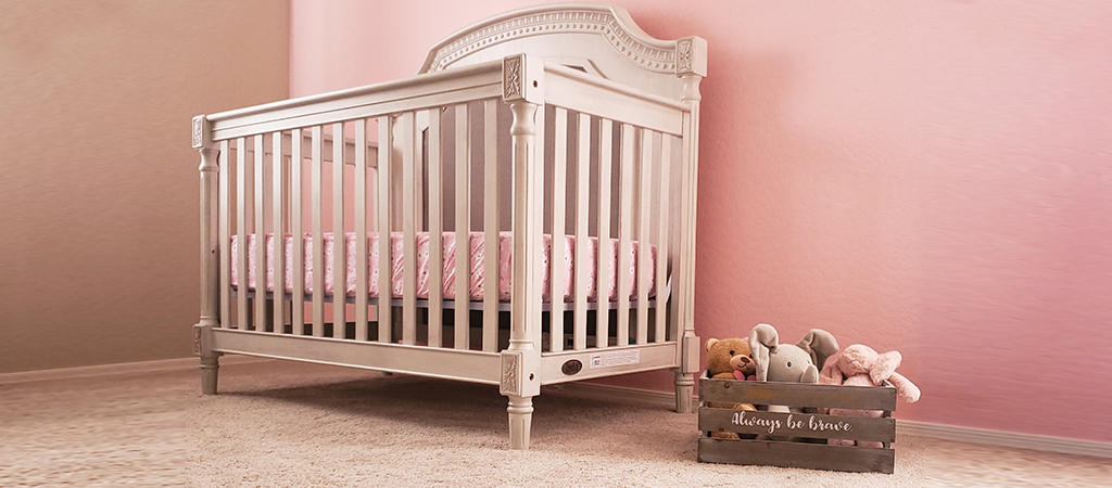 A pink and gray nursery