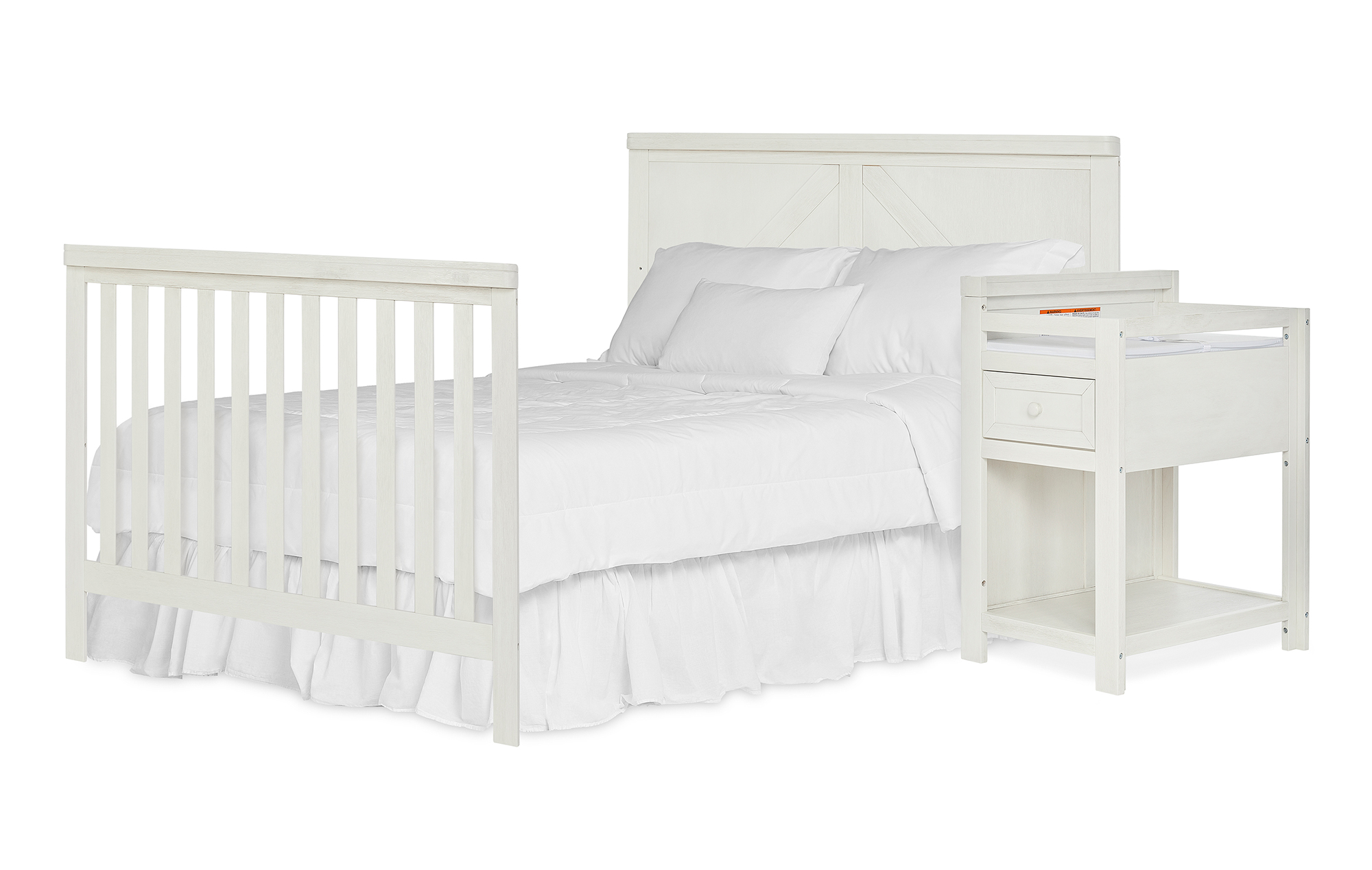 773-WWHITE Meadowland Full Size Bed Headfoot with Changer